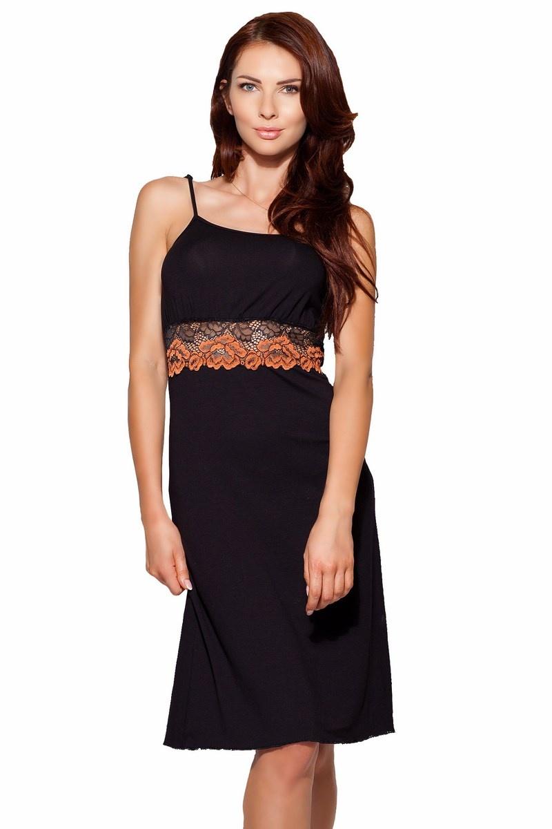 Elegantes Damen Negligé Nachthemd in schwarz mit edler Spitze