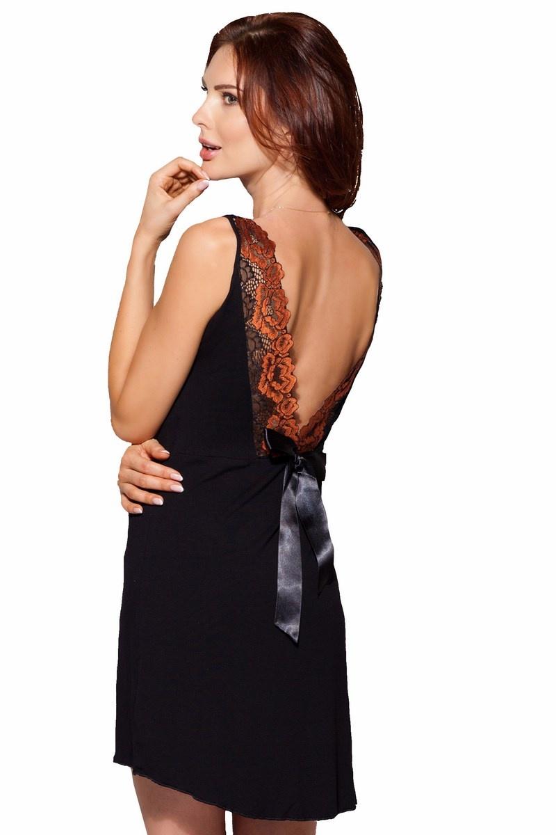 514f35a6171be1 Elegantes Damen Negligé Nachthemd in schwarz mit edler Spitze