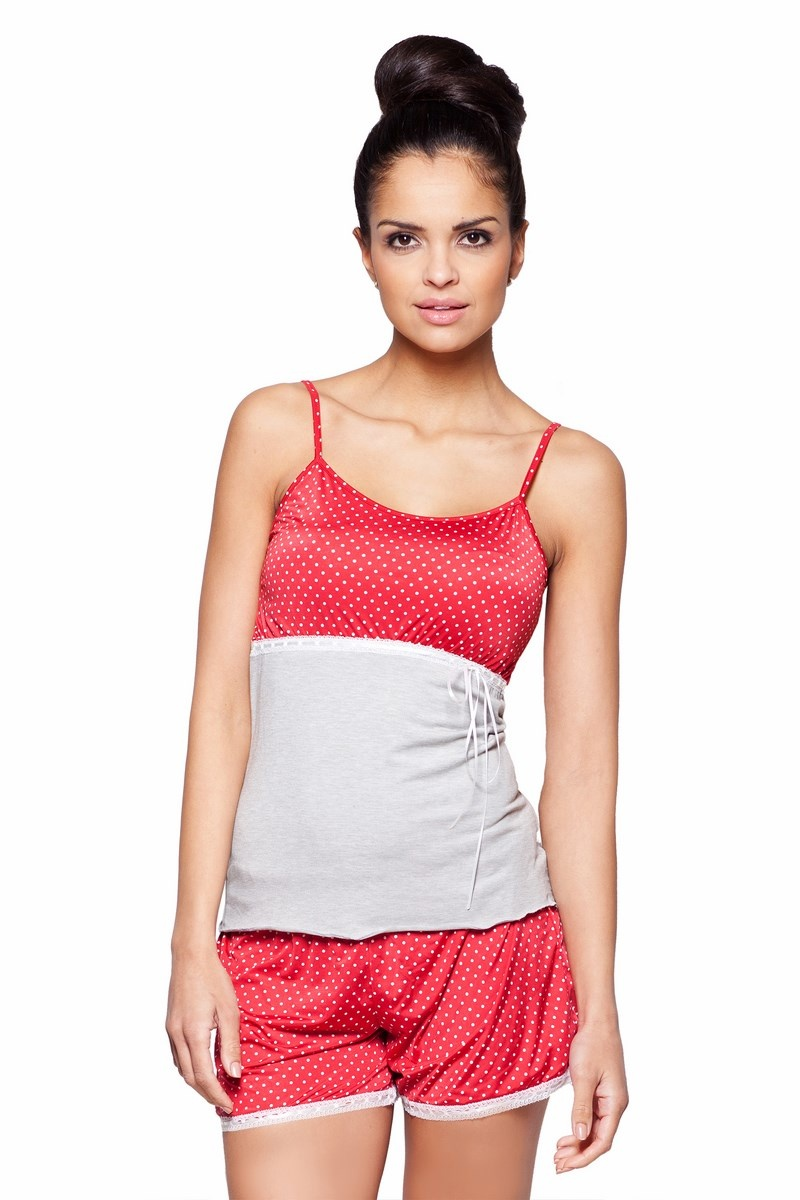 Sexy Shorty-Pyjama melage rot weiß gepunktet