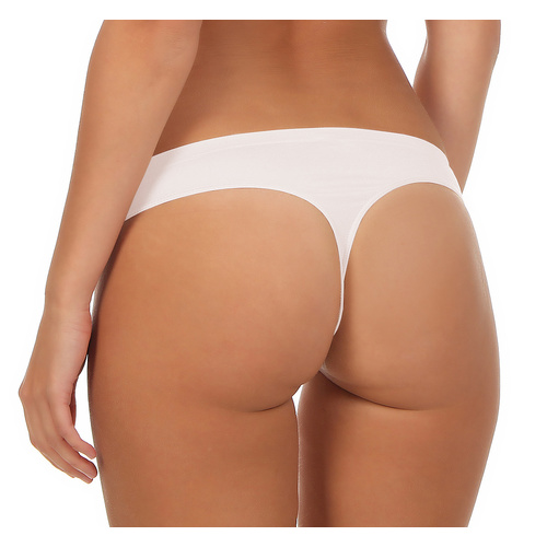 souspy Mikrofaser String Seamless-Classic S/M weiß