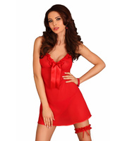 Lupoline 110 edles Negligee Set mit Strumpfband rot 38