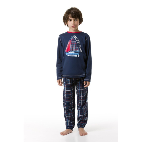 envie Jungen-Pyjama Pacific Team langarm in navy oder grau/navy
