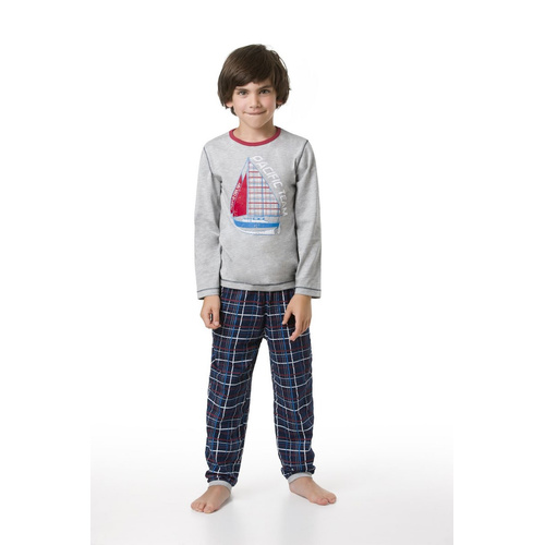 envie Jungen-Pyjama Pacific Team langarm in grau/navy 110-116 CM